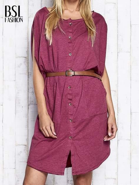 Bordowa melanżowa sukienka oversize z guzikami