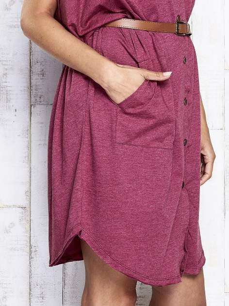 Bordowa melanżowa sukienka oversize z guzikami                                  zdj.                                  7