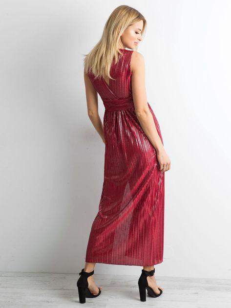 Bordowa plisowana sukienka maxi                              zdj.                              2
