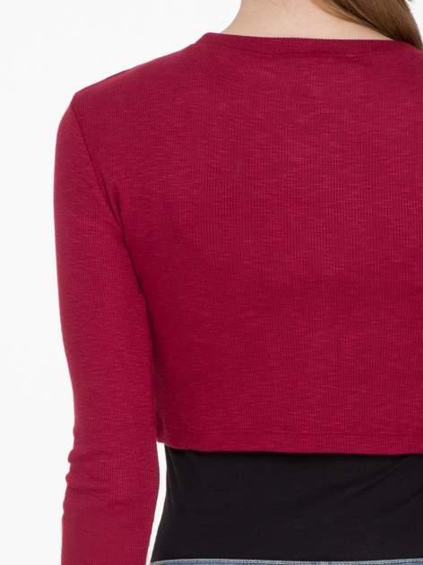 Bordowa prążkowana bluzka cropped                                  zdj.                                  5