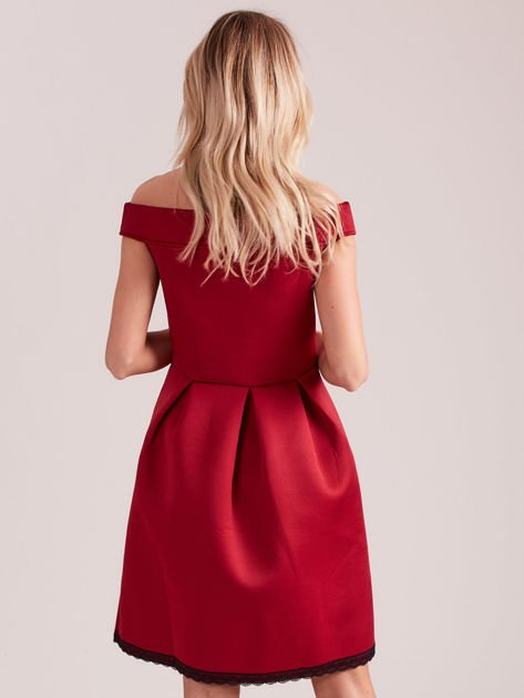 Bordowa rozkloszowana sukienka z pianki                              zdj.                              3