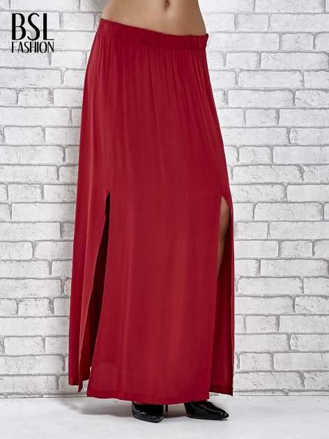 Bordowa spódnica maxi z rozporkami z przodu                                  zdj.                                  1