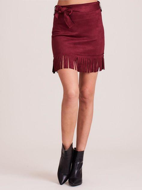 Bordowa spódnica z frędzlami                              zdj.                              5
