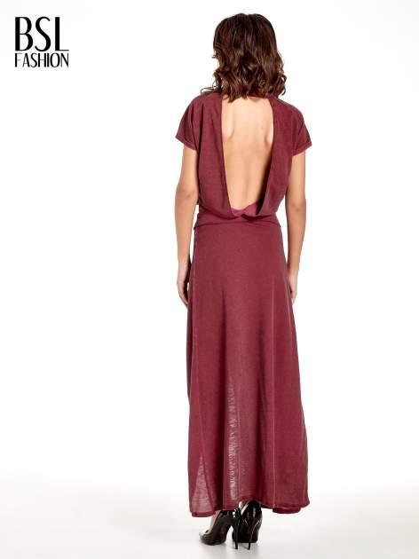 Bordowa sukienka maxi z dekoltem na plecach                                  zdj.                                  4