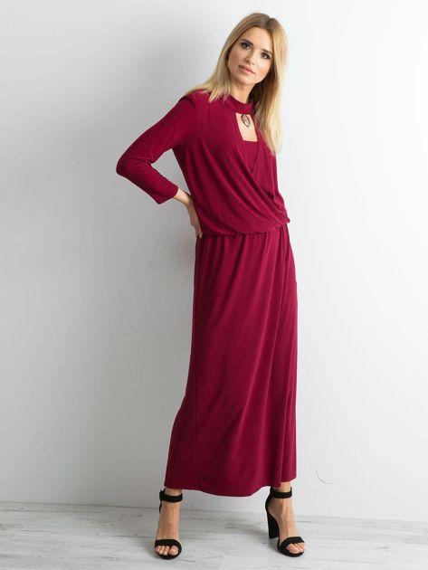 Bordowa sukienka maxi z wycięciem                              zdj.                              1
