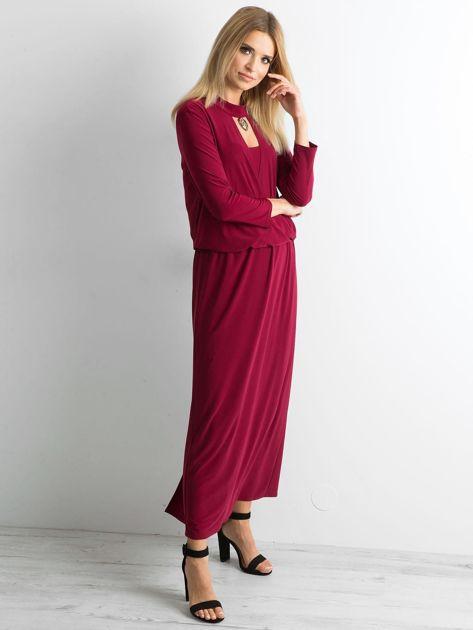 Bordowa sukienka maxi z wycięciem                              zdj.                              3