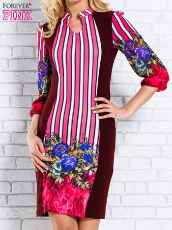 Bordowa sukienka w kwiaty w orientalnym stylu                                  zdj.                                  1