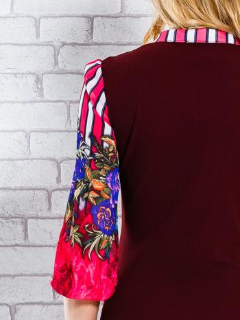 Bordowa sukienka w kwiaty w orientalnym stylu                                  zdj.                                  5