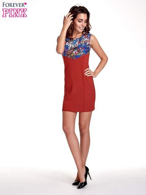 Bordowa sukienka z kwiatową koronką                                  zdj.                                  4