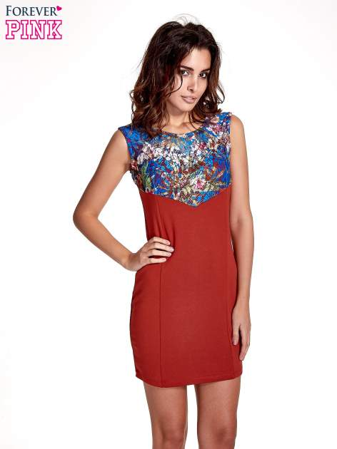 Bordowa sukienka z kwiatową koronką                                  zdj.                                  1