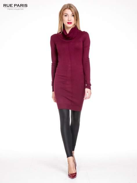 Bordowa swetrowa sukienka z golfem                                  zdj.                                  2