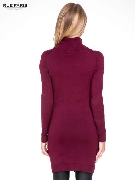 Bordowa swetrowa sukienka z golfem                                  zdj.                                  8