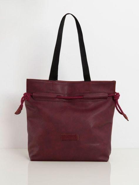Bordowa torba shopper z ekoskóry