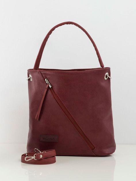 Bordowa torba z asymetryczną kieszenią