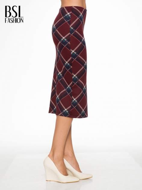 Bordowa wełniana ołówkowa spódnica w romby                                  zdj.                                  3
