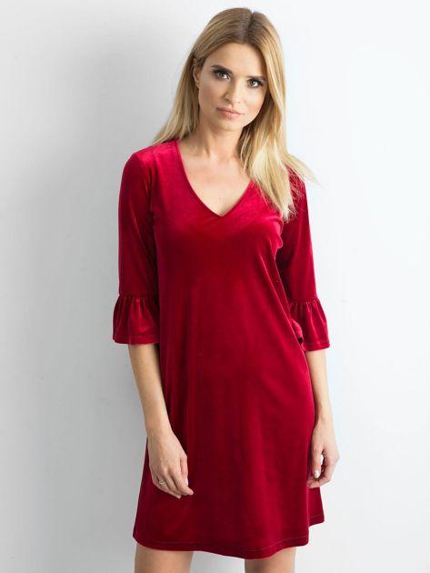 Bordowa welurowa sukienka damska                              zdj.                              1