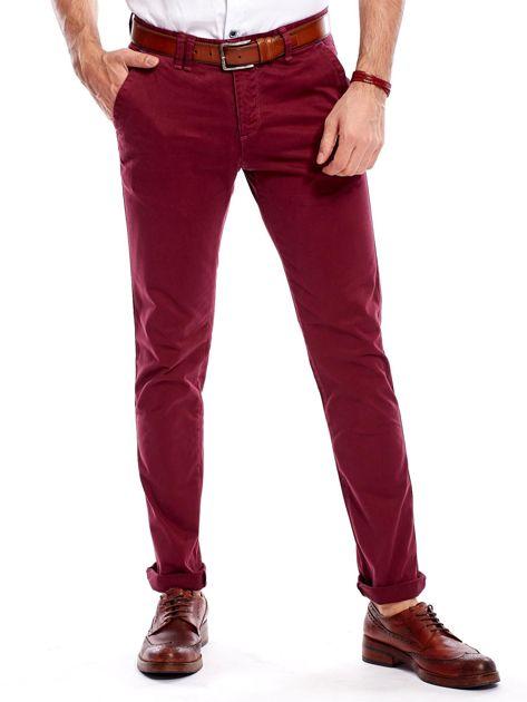 Bordowe bawełniane spodnie męskie chinosy                                   zdj.                                  3