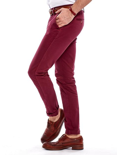 Bordowe bawełniane spodnie męskie chinosy                                   zdj.                                  7