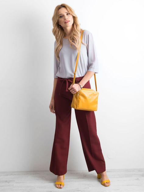 Bordowe damskie szerokie spodnie                              zdj.                              4