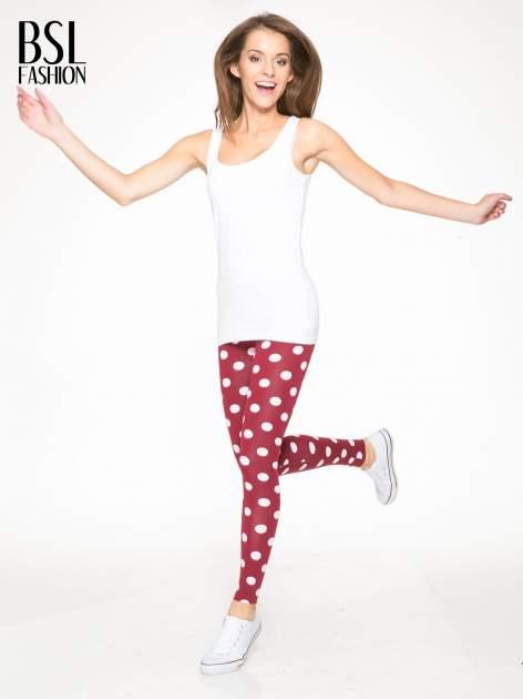 Bordowe legginsy w grochy                                  zdj.                                  2