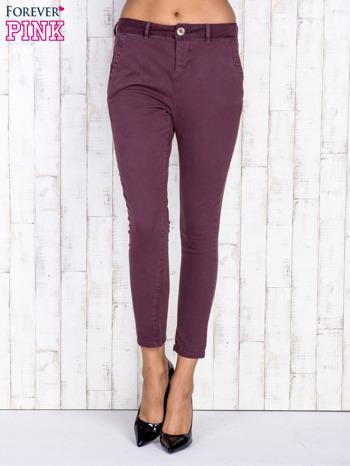 Bordowe proste spodnie z kieszeniami na guziki                                  zdj.                                  1