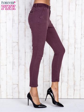 Bordowe proste spodnie z kieszeniami na guziki                                  zdj.                                  3