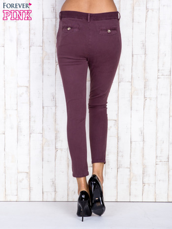 Bordowe proste spodnie z kieszeniami na guziki                                  zdj.                                  2