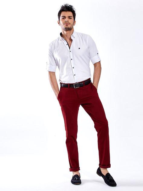 Bordowe spodnie męskie chinos                                  zdj.                                  4