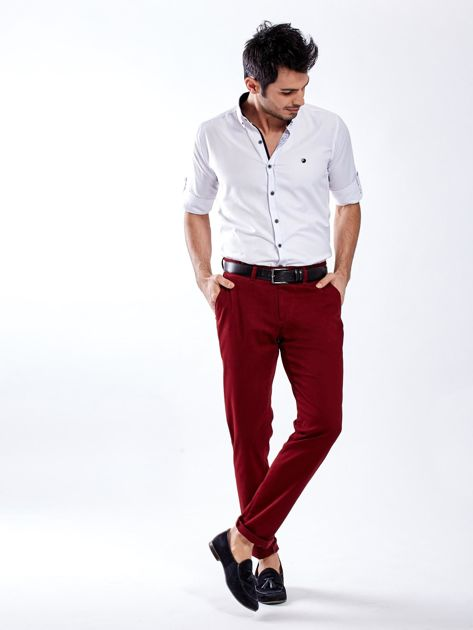 Bordowe spodnie męskie chinos                                  zdj.                                  8