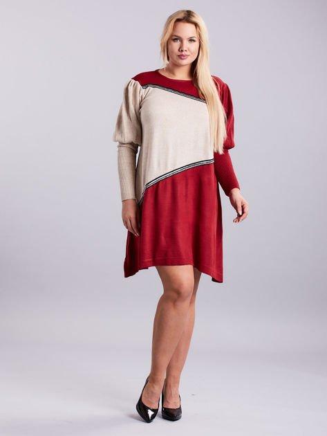 Bordowo-beżowa sukienka dzianinowa PLUS SIZE                              zdj.                              4