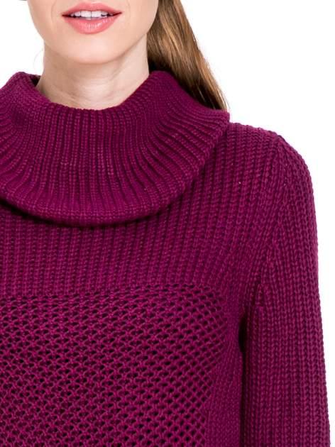 Bordowy ciepły sweter z golfowym kołnierzem                                  zdj.                                  5