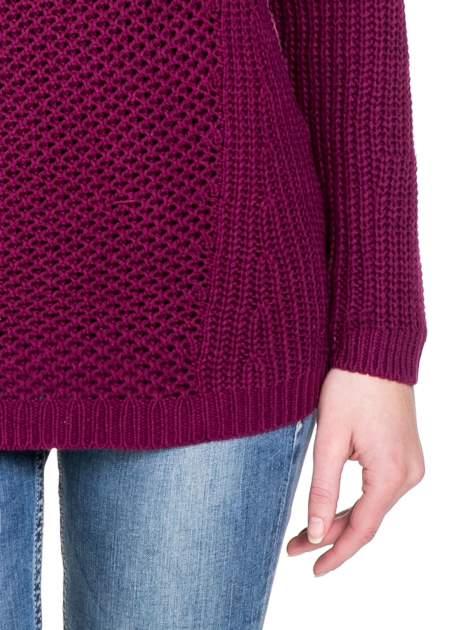 Bordowy ciepły sweter z golfowym kołnierzem                                  zdj.                                  6