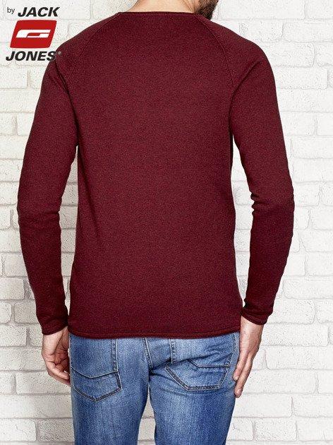Bordowy dopasowany sweter męski