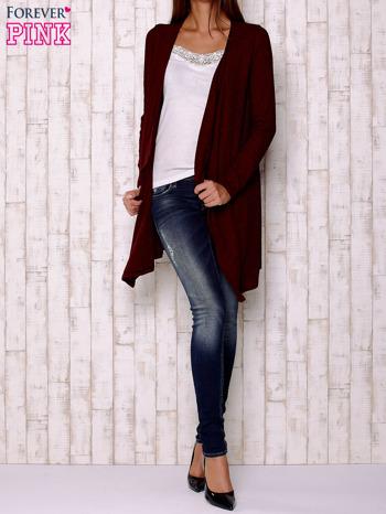 Bordowy melanżowy sweter z otwartym dekoltem                                  zdj.                                  2