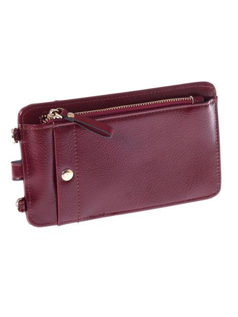 Bordowy portfel i etui na telefon z odpinanym paskiem                              zdj.                              2