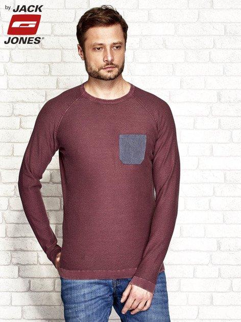 Bordowy sweter męski z kieszonką