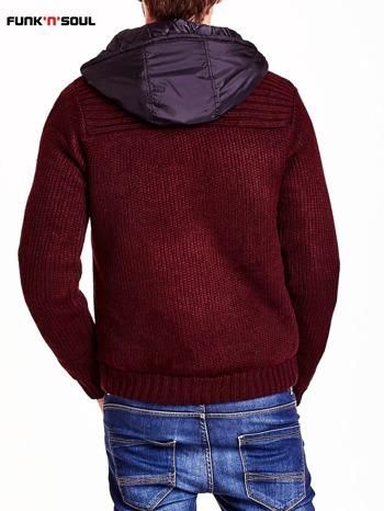 Bordowy sweter męski z podszewką i kapturem FUNK N SOUL                                  zdj.                                  3