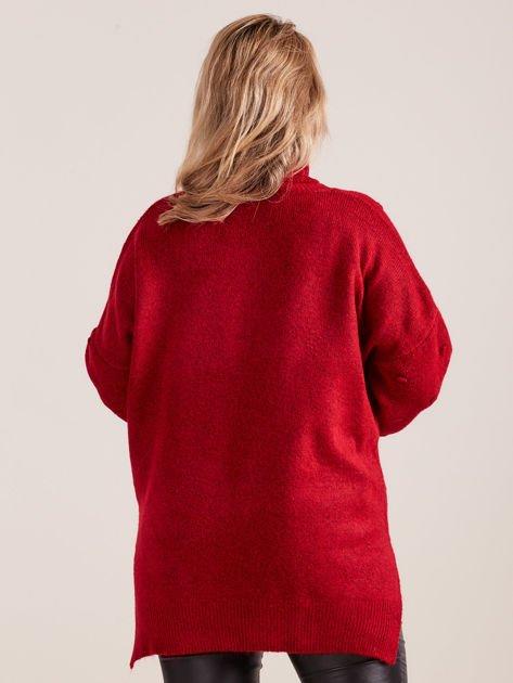 Bordowy sweter z golfem PLUS SIZE                              zdj.                              2