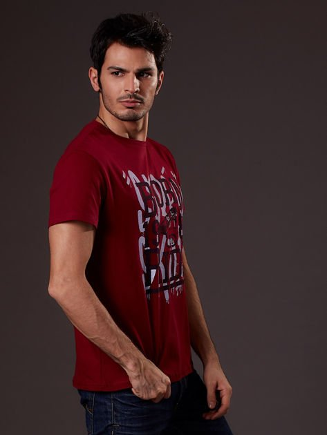 Bordowy t-shirt męski skater                              zdj.                              3