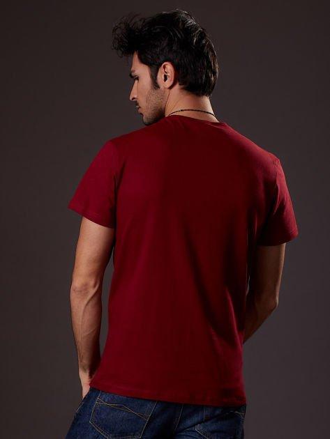 Bordowy t-shirt męski skater                              zdj.                              2