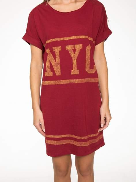 Borodowa bluzosukienka z nadrukiem NYC                                  zdj.                                  8
