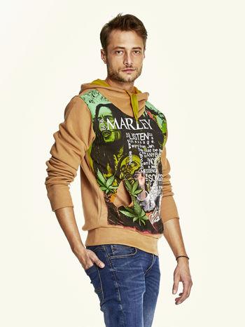 Brązowa bluza męska z kapturem z nadrukiem reggae                                  zdj.                                  3