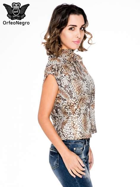 Brązowa bluzka z motywem snake print                                  zdj.                                  3