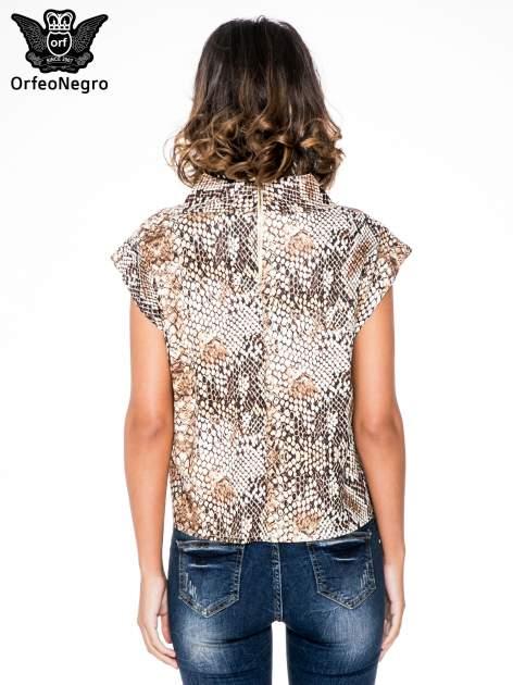 Brązowa bluzka z motywem snake print                                  zdj.                                  4