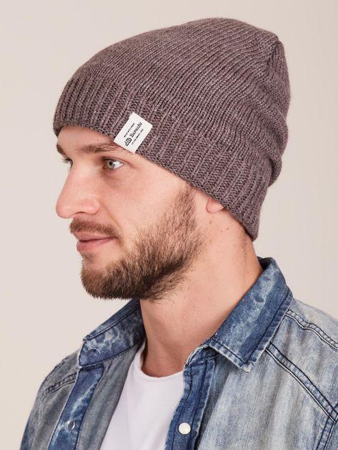 Brązowa czapka męska z motywem geometrycznym                              zdj.                              2