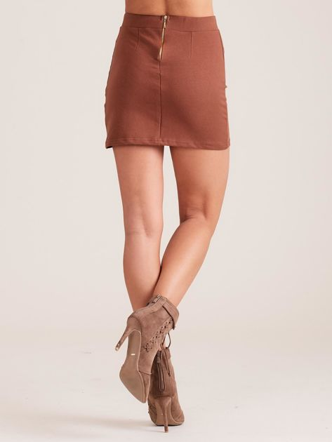 Brązowa dresowa spódnica mini                              zdj.                              2