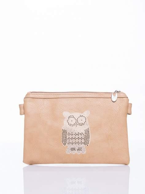 Brązowa kopertówka z dżetami motyw sowy