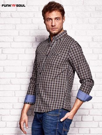 Brązowa koszula męska w kratkę FUNK N SOUL                                  zdj.                                  3