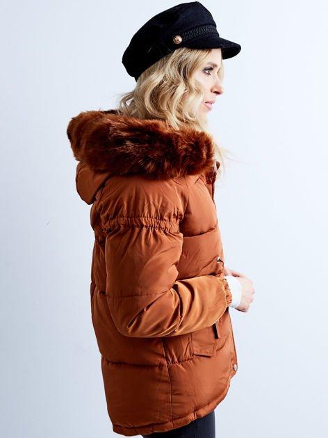 Brązowa kurtka zimowa pikowana                              zdj.                              7