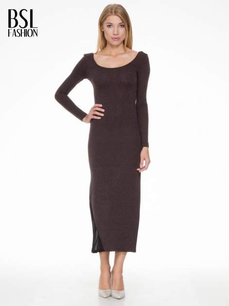 Brązowa maxi sukienka z asymetryczną wstawką na dole z tiulu                                  zdj.                                  1